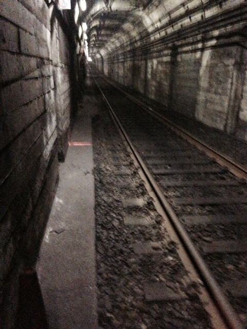 Inside the MBTA tunnel.