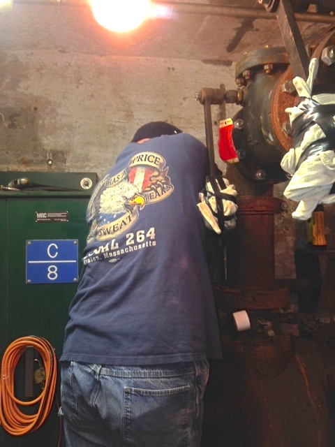 MBTA Outside Machinist & 264 President Jim Mastandrea working on a pump inside the tunnel system.