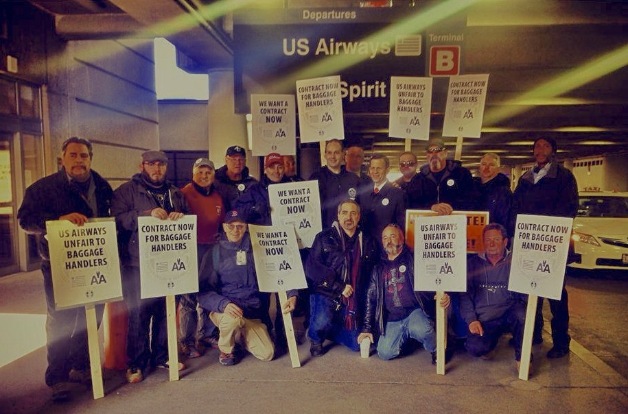 Massachusetts Treasurer and candidate for governor Steve Grossman (5th from the right 2nd row) joined the IAM 1726  picket line at Boston's Logan Airport on March 27th.