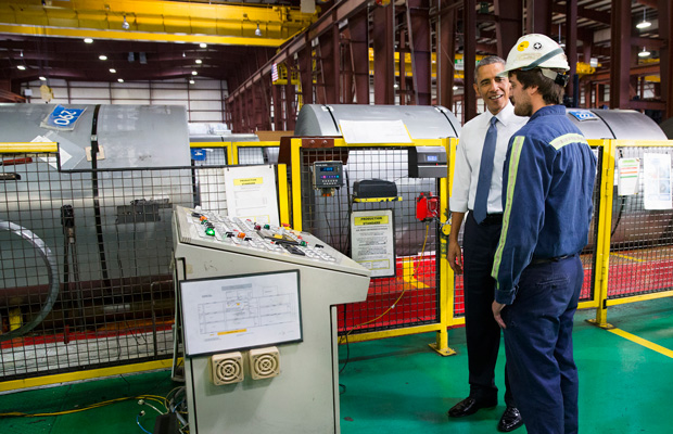 President Barack Obama tours the Millennium Steel Service in Princeton, Indiana, Friday, October 3, 2014, before speaking about the economy as part of Manufacturing Day.