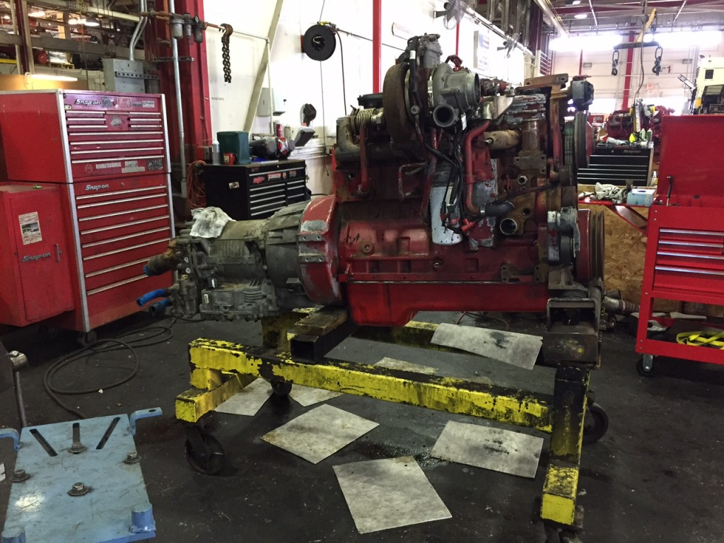 Engine and transmission after being pulled from a bus for a rebuild at Everett bus.