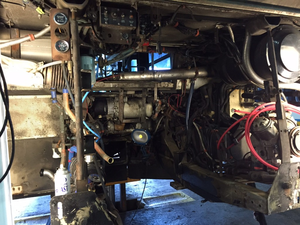 Back of the bus where the engine was removed.