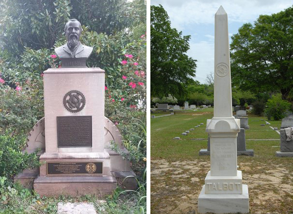 Left: A new plaque commemorating IAM founder Tom Talbot has been installed on his monument in Atlanta's Grant Park. Right: The gravesite of Talbot in Florence, SC.