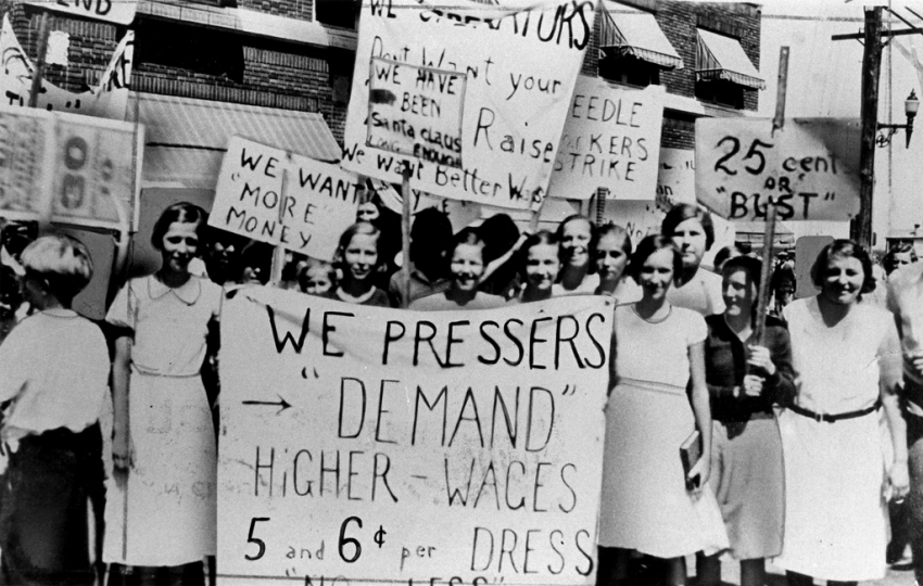 Members of the International Ladies Garment Workers Union on strike sometime in the early 20th century. (Kheel Center, Cornell University)