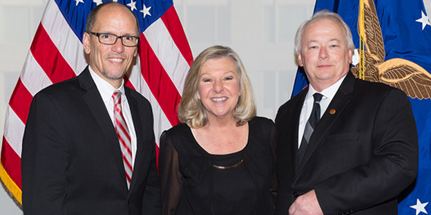 IAM Local 701 member Norb Balinski, right, and his wife, Gloria, met with U.S. Labor Secretary Tom Perez as part of a trip to Washington, DC to see President Obama deliver his final State of the Union address. (Photo: U.S. Labor Department)